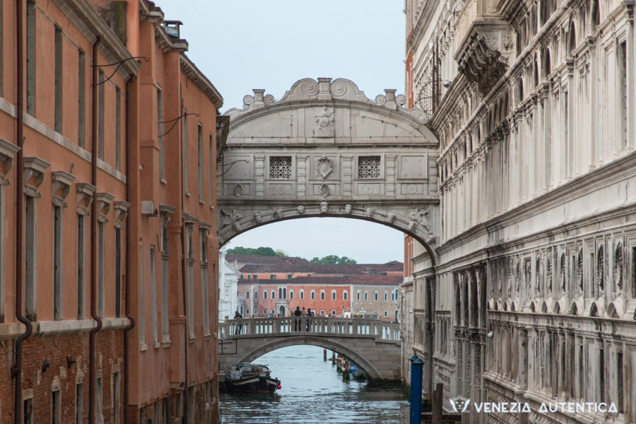 Bridge of Sighs in Venice, Italy, shot from the Ponte della Canonica. Most photos of the bridge of sighs are taken from the opposite side