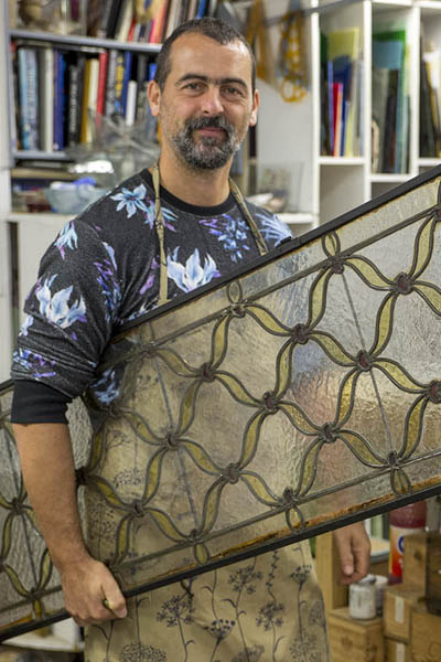 Marco Franzato, Glass Artist - Venezia Autentica | Discover and Support the Authentic Venice - Marco is the last leaded glass artisan still operating in Venice. Working with ancient techniques, he crafts artistic leaded glass windows as well as jeawellery and decorations.