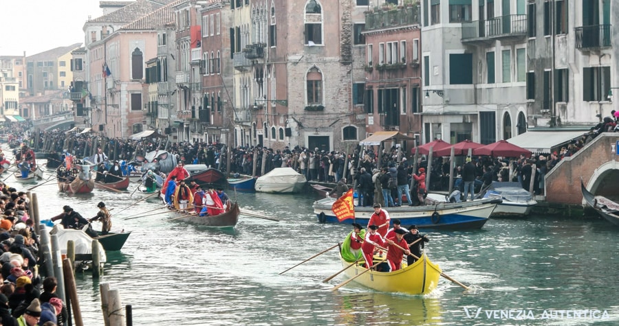 Carnival Opening Part II in Venice. The rowing clubs' boats and rowers parade through the canale di cannaregio.