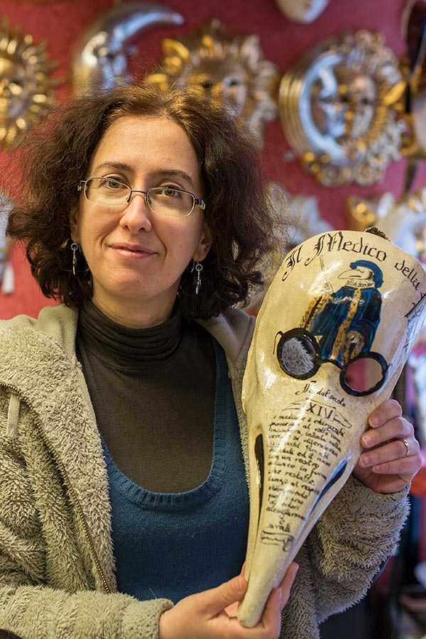 Marina Celano, Mask Maker - Venezia Autentica | Discover and Support the Authentic Venice - Close to the historical venetian fish market, yet off the beaten path, Marina welcomed us into her little enchanted masks shop...