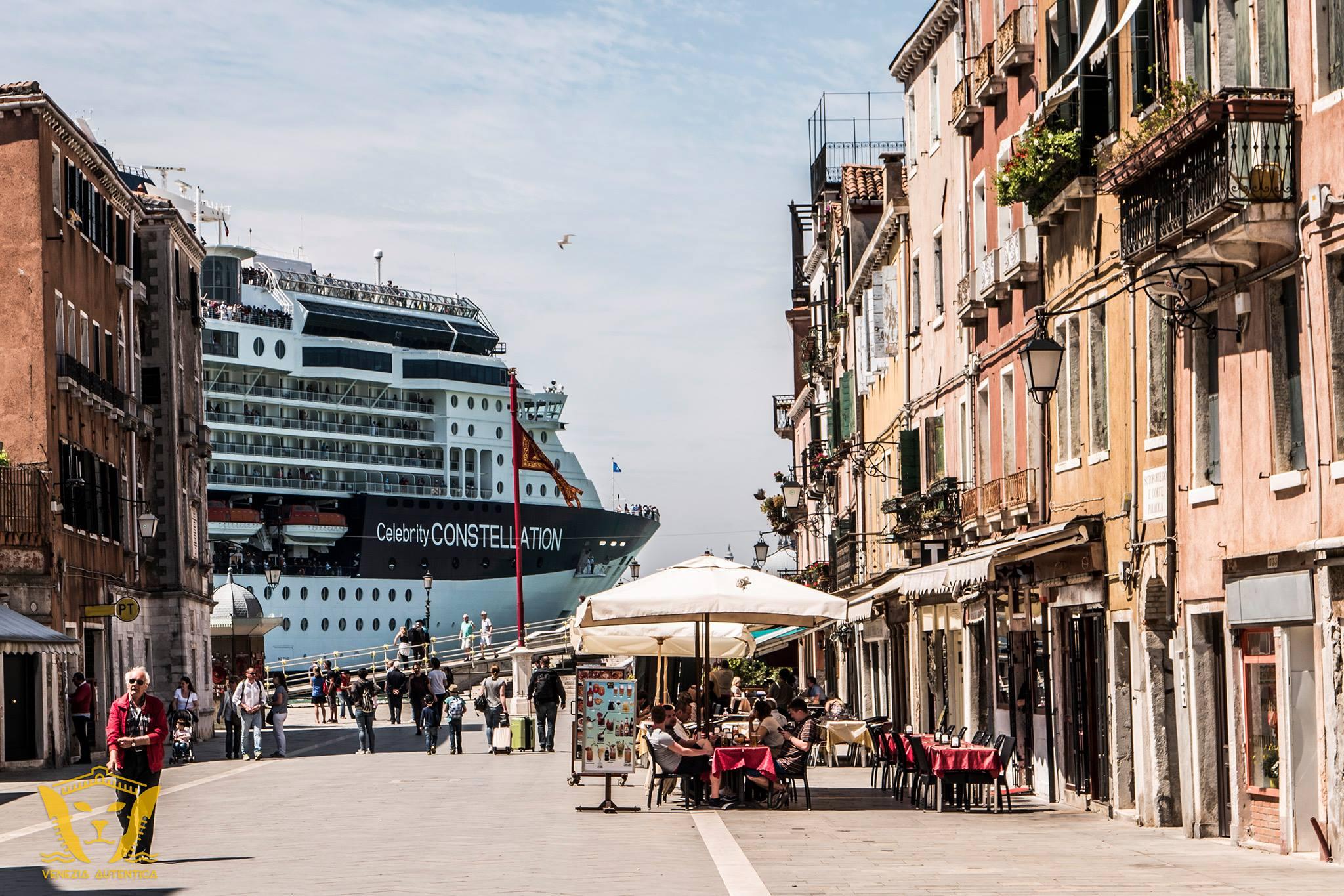 Cruise Ship seen from Via Garibaldi in Venice, Italy heading towards the Venice Cruise Terminal.