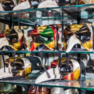 Authentic Venetian Masks hand made in Venice, Italy, at Casanova Masks Shop in Dorsoduro.