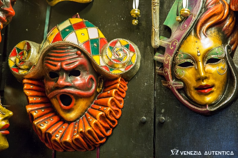 Arlecchino mask at Ca Macanà Atelier in Venice
