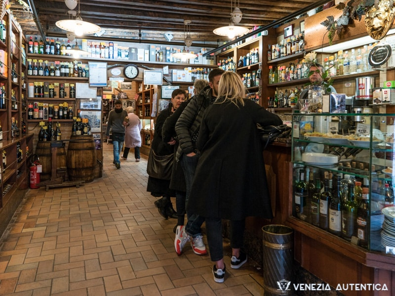 "The ""Cantine del Vino già Schiavi"" in Venice attracts locals and students thanks to its original and extremely good cichetti, along with a friendly and quick service."