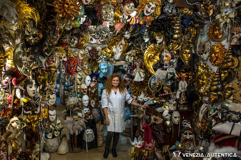 L'Arlecchino Masks Shop by Marilisa, in Venice, Italy, offers a huge variety of authentic hand made venetian masks