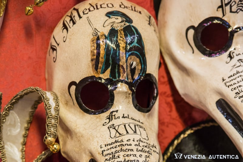 "One of the most iconic venetian masks is the ""Medico della Peste"", the doctor of the plague. Marina's""Teatro Maschere"" in Venice offers fine Venetian hand crafted mask."