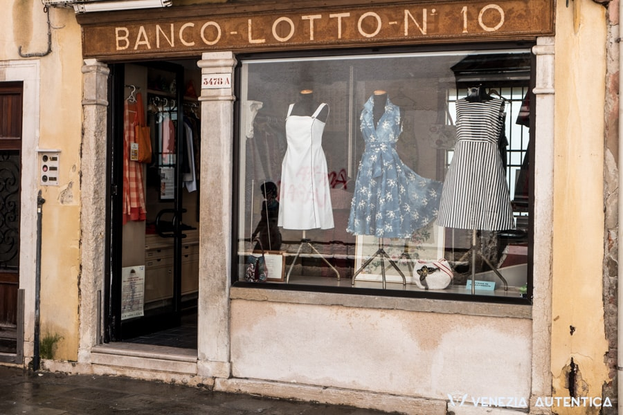 Banco Lotto 10 in Venice, unique and original hand made clothes. Made in Italy in the Giudecca Prison by highly trained detainees.