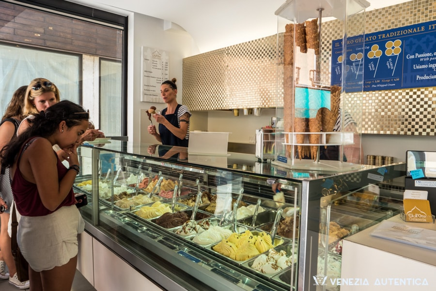 "The ""Gelateria Ca' d'Oro"" in Venice, on the busy and popular Strada Nuova, provides the locals and the tourists with very artisanal gelato"