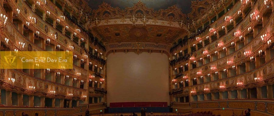 Inside view of the Fenice thetre in Venice. In 1996 it burnt completely in a devastating fire, but after long renovations to rebuild it as it was, it reopened in 2003