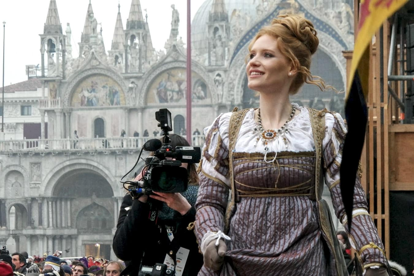 The Maria Claudia Marchiori walking up the stage. The Saint Mark's Basilica on the background