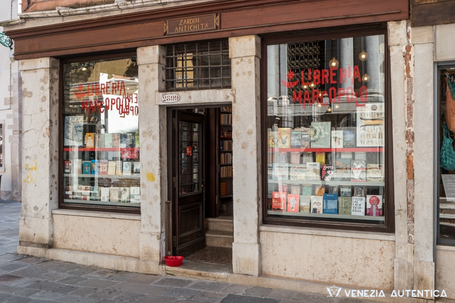 Entrance of the MarcoPolo book shop in Venice in the district of Dorsoduro
