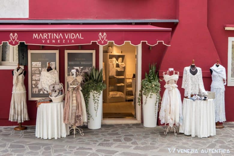 Martina Vidal's atelier entrance in Burano, Venice. Finest burano lace hand crafted by the expert hands of those few who still master the techniques