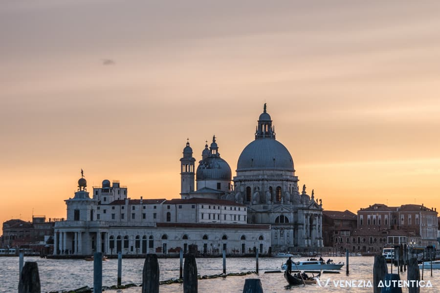 Santa Maria della Salute in Venice, Italy, at sunset. The bond between Venetians and the Chiesa di Santa Maria della Salute last since 1630.
