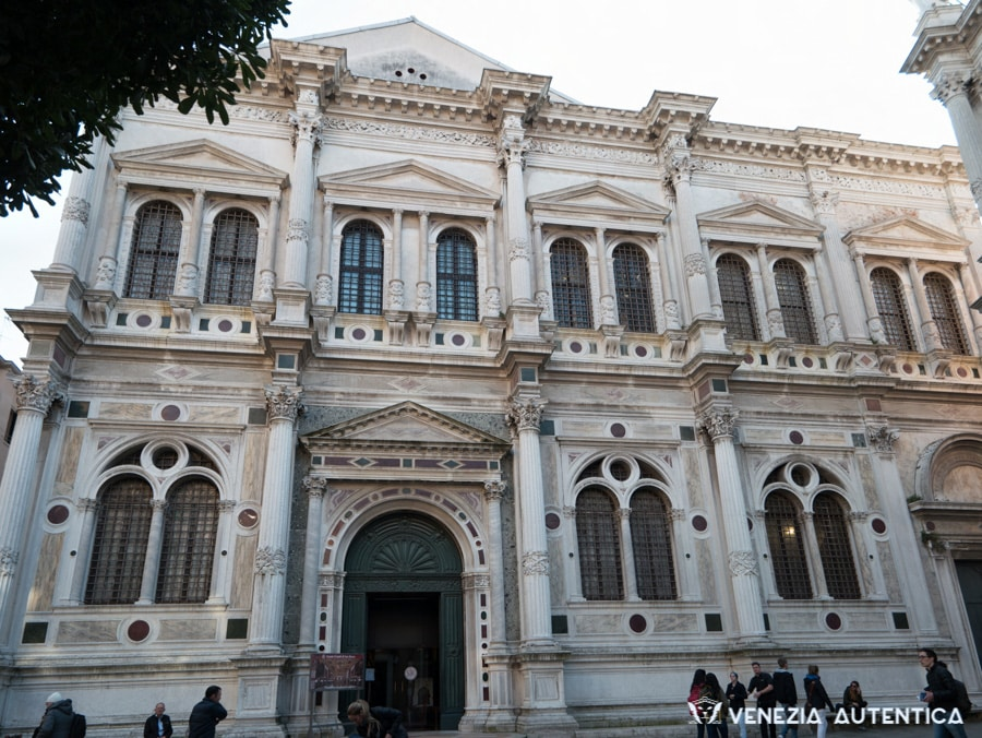 The Scuola Grande San Rocco in Venice, Italy, was started by Pietro Bon in 1517 and finished in 1560.