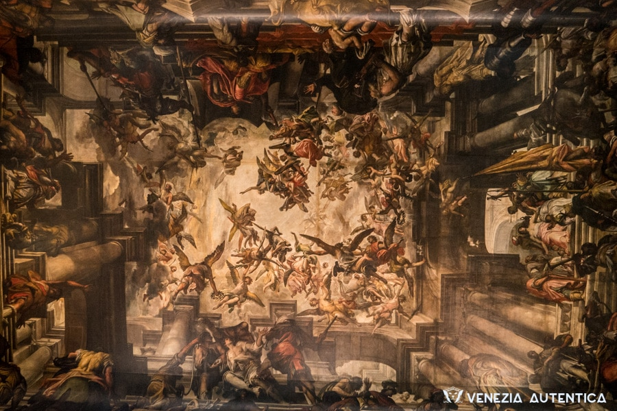 The great painting on canvas on the ceiling of the San Pantalon Church in Venice, Italy. It is the biggest painting on canvas in the world, measuring a total of 443 square meters.
