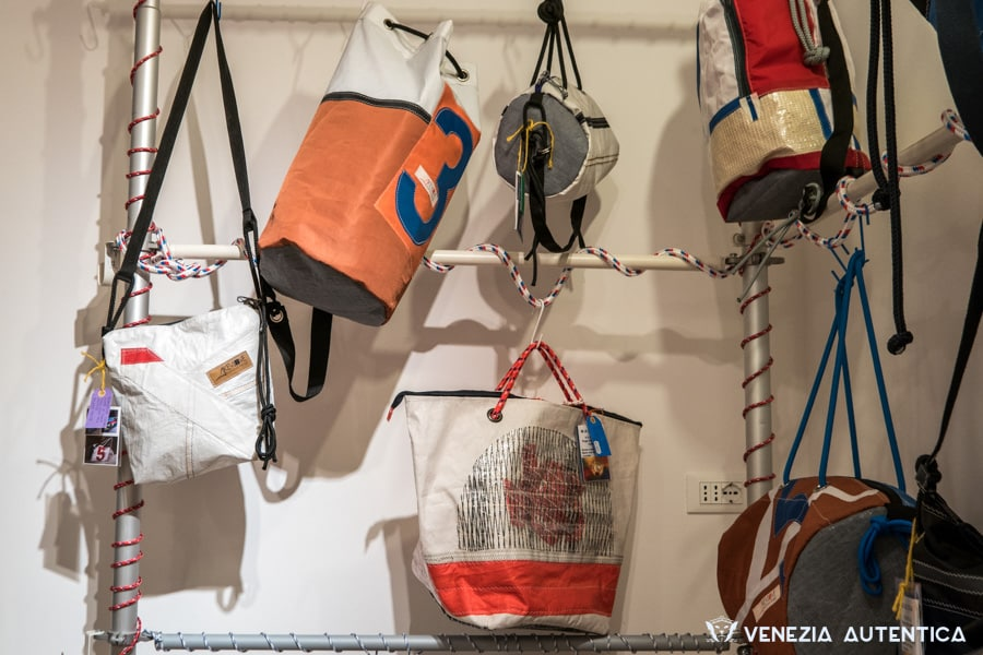 Hand crafted bags at Magoga Venezia in Venice, Italy. These unique bags are made with damaged sails, offering great resistance and strenght.