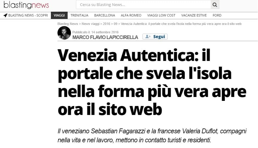 Screenshot of the article about Venezia Autentica's launch on the social news website 'Blasting News'