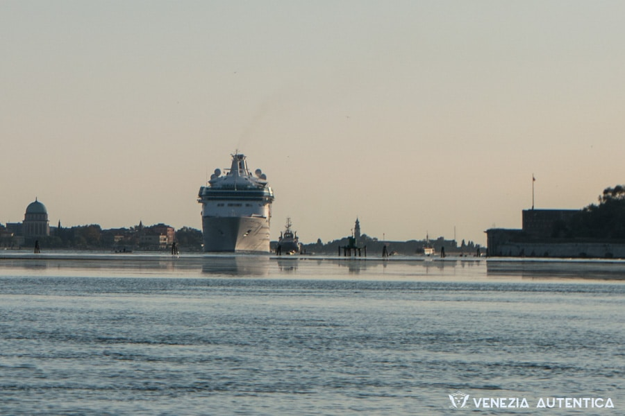 Big ships, or cruise ship, passing in the lagoon of Venice, Italy