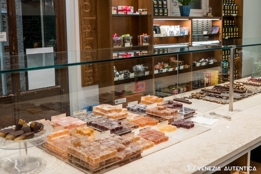 Counter of VizioVirtù Chocolate Shop in Venice, Italy. Selection of delicious pralines.