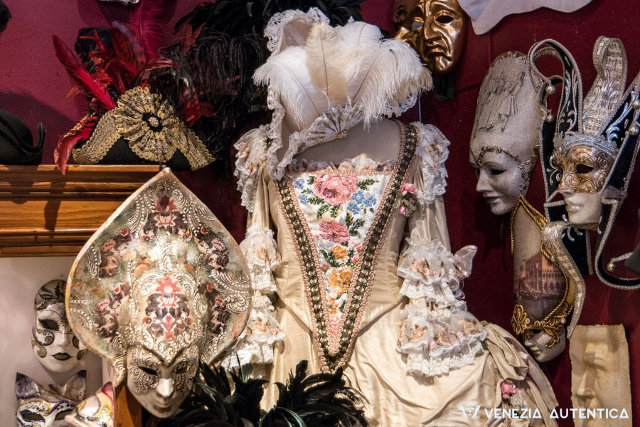 Authentic hand made carnival costume at the Atelier Marega in Venice, Italy