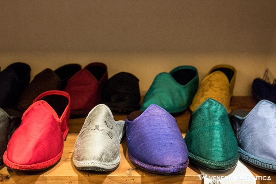 Different elegant and colourful Friulane shoe uppers at Piedaterre shoe shop in Venice, Italy