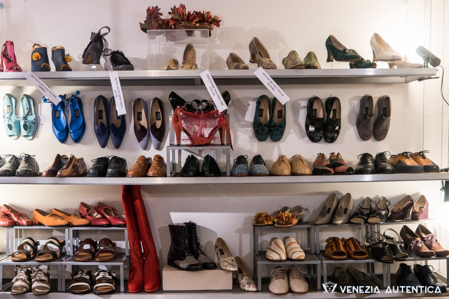 Giovanna Zanella's hand crafted and original shoes on display in her shop in Venice, Italy