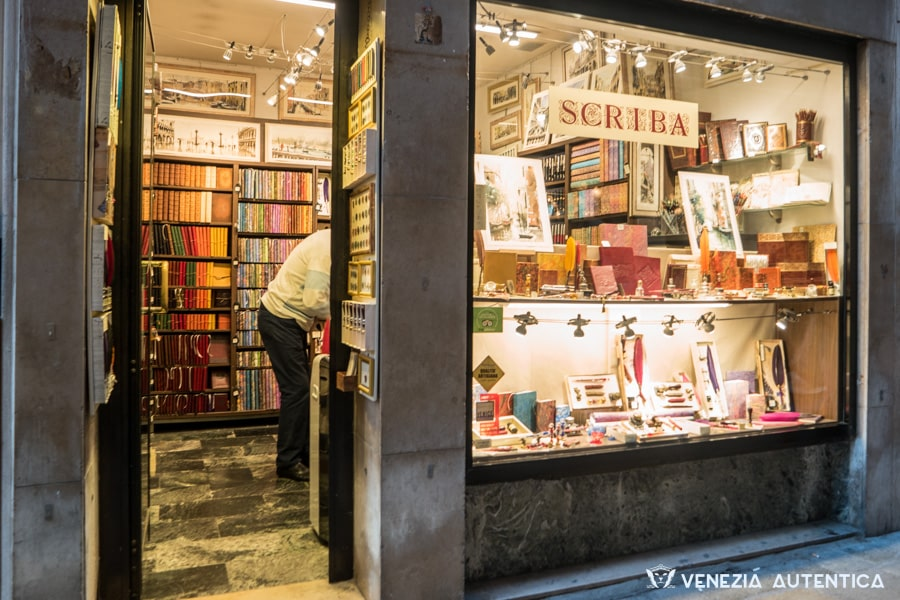 Feathers, seels, hand made books and paintings at Scriba shop in Venice, Italy