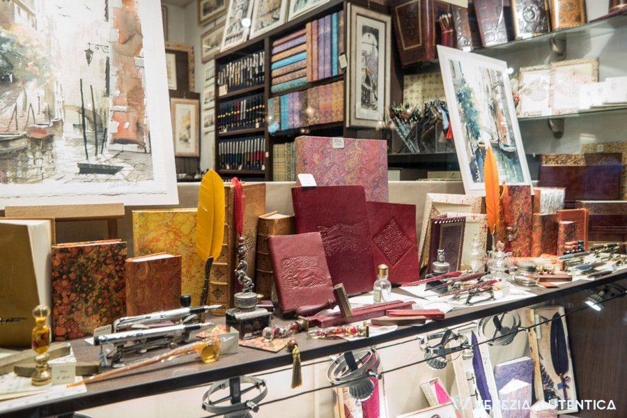Pens, papers, hand made books and paintings at Scriba shop in Venice, Italy