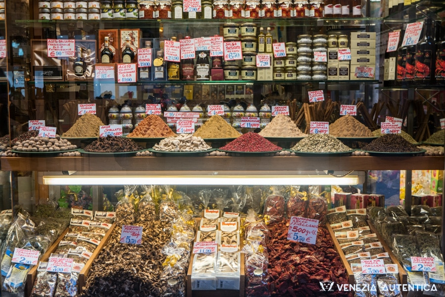 Spices, balsamic vinegar, creams, dried tomatoes, marmelades at Mascari spice and wine shop in Venice, Italy