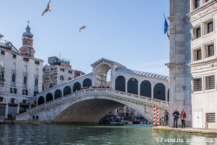 Ponte di Rialto, or Rialto Bridge, in Venice, Italy, shot from the Canal Grande
