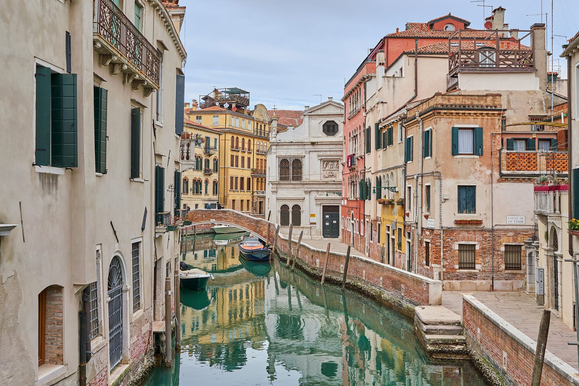 Photo of a canal in Venice, shot from a bridge