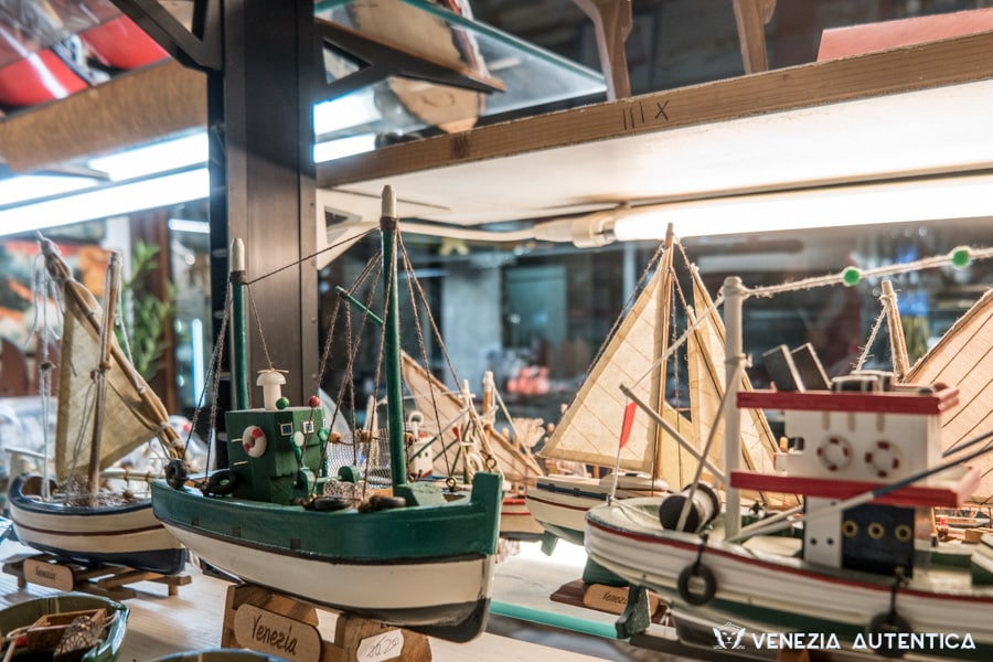 Wooden models of Venetians Fishing boats in Gilberto Penzo's shop in Venice, Italy