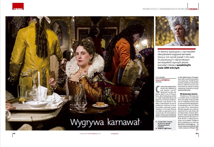 Major Polish weekly news magazine GOSC speaks about Venezia Autentica, the authentic Venice and Venice's Carnival - Venezia Autentica | Discover and Support the Authentic Venice - Venezia Autentica spent few days with 2 polish journalists introducing them to the authentic side of Venice and the Venetian carnivalDuring Carnival 2017,
