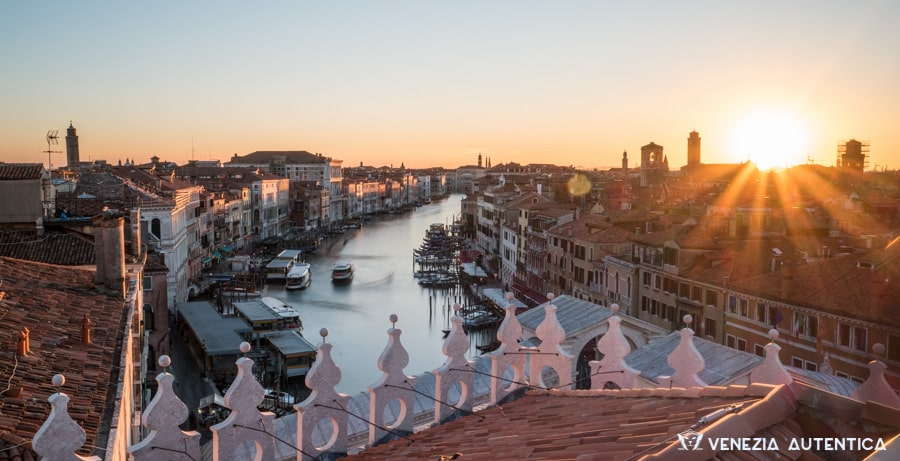 View from the Terrace on top of the Fontego dei Tedeschi in Venice, Italy
