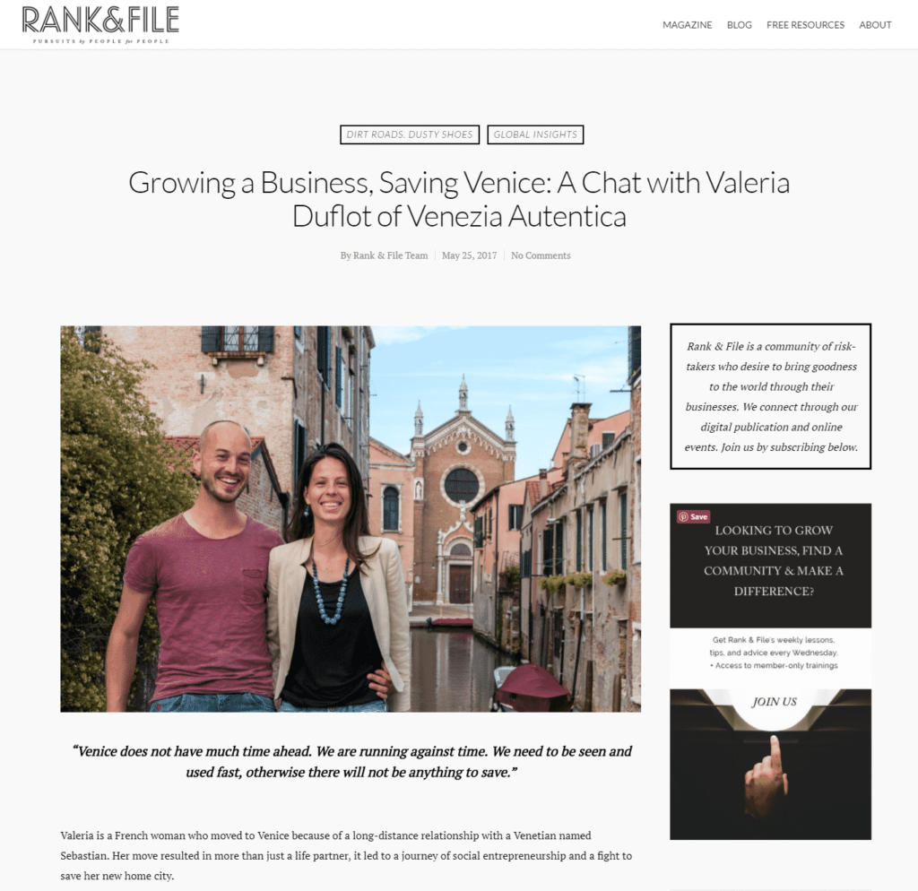 Venezia Autentica featured in magazine for social entrepreneurs Rank & File