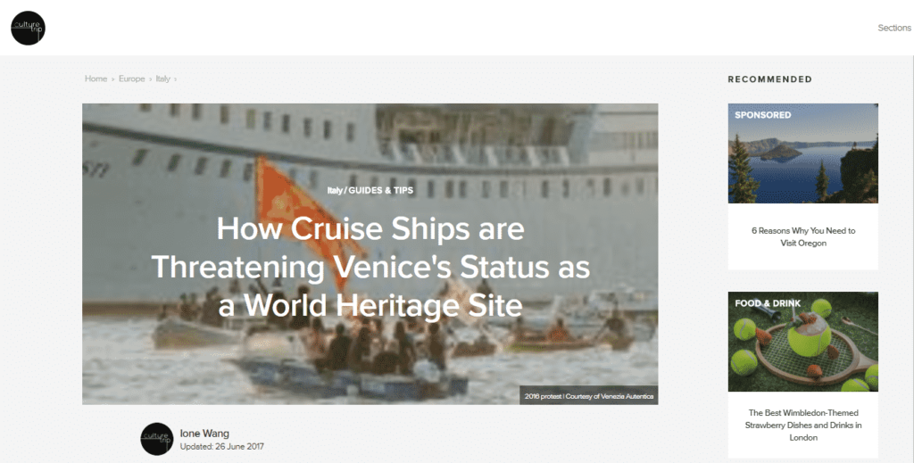 Venezia Autentica collaborates with the Culture Trip on an article about Venice and cruise ships - Venezia Autentica | Discover and Support the Authentic Venice - VA helped one of the fastest-growing media startups illustrate an article about the impact of cruise ships in VeniceIn June 2017, the fast growing media