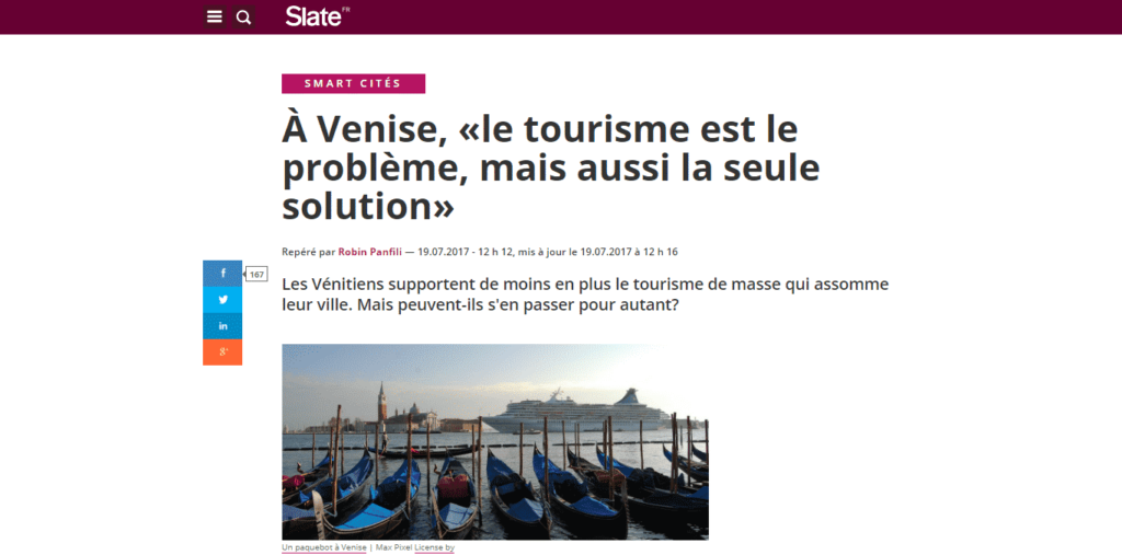 Slate.fr dedicates an article to the work of Venezia Autentica in Venice - Venezia Autentica | Discover and Support the Authentic Venice - Slates.fr speaks about the situation in Venice and the opinion and work of Venezia Autentica to bring a better future to the cityIn July 2017, the leading