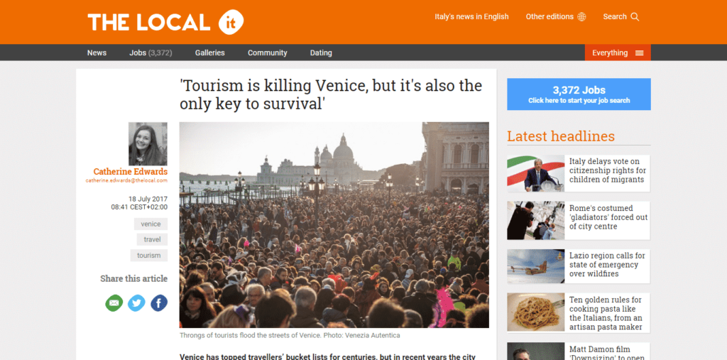The Local Italy speaks about Venezia Autentica's work in Venice
