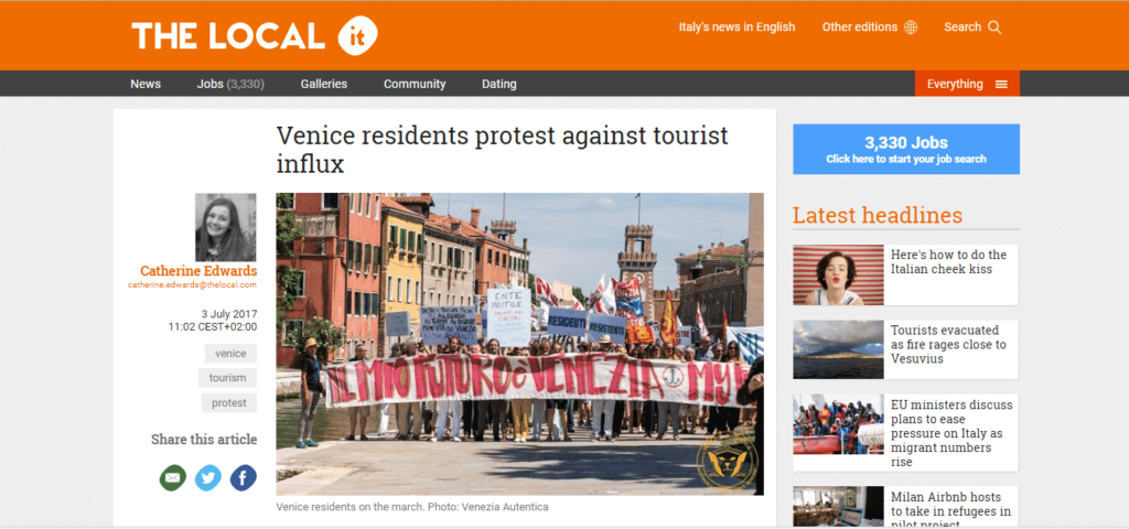 Venezia Autentica collaborates with The Local on an article about a major local protest - Venezia Autentica | Discover and Support the Authentic Venice - We helped the biggest provider of European news in English understand and illustrate the local sentiment in Venice In July 2017, the largestEnglish-news