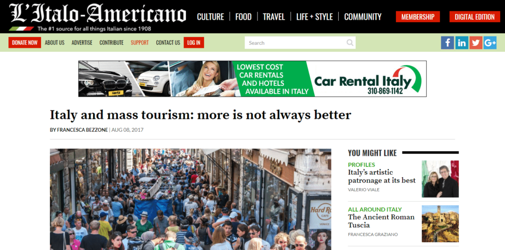 Venezia Autentica on first page of the oldest Italian-American newspaper. - Venezia Autentica | Discover and Support the Authentic Venice - The Italian-American newspaper publishes an interview of Venezia Autentica's co-founders about life in Venice and the work of Venezia AutenticaIn August 2017,