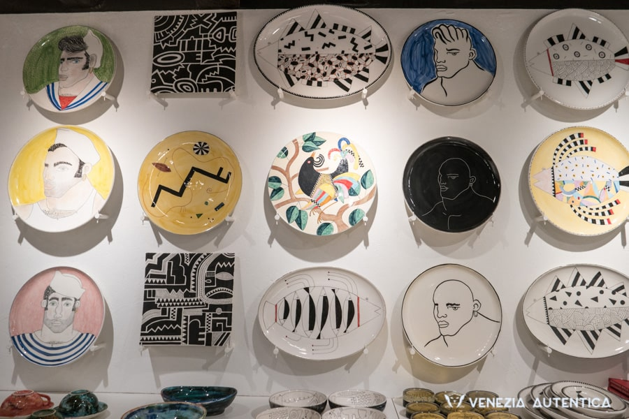 Alessandro Merlin Ceramics - Venezia Autentica | Discover and Support the Authentic Venice - Step into Alessandro's shop and workshop and be welcomed by wonderful artistic pottery, ranging from serving trays decorated with colorfulfishes and birds, to fine black and white teapots with erotic images, depicting naked young men.