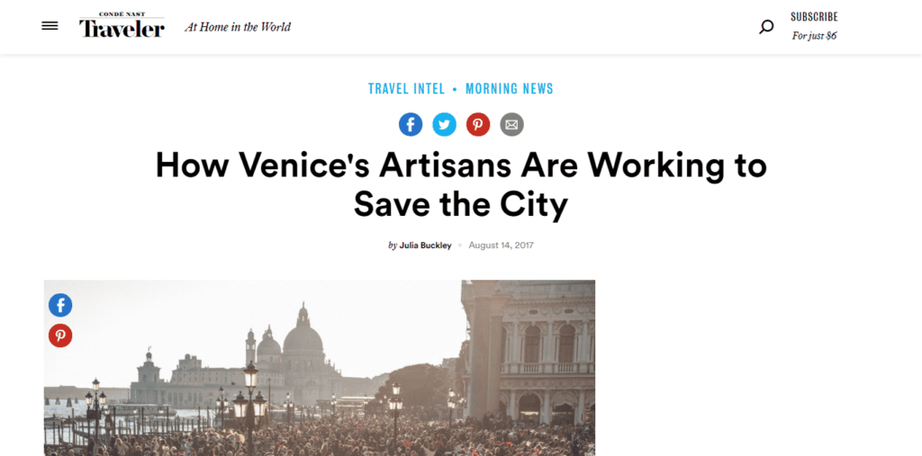 "Condé Nast Traveler dedicates an article to the ""Venezia Autentica Friends' Pass"" - Venezia Autentica 