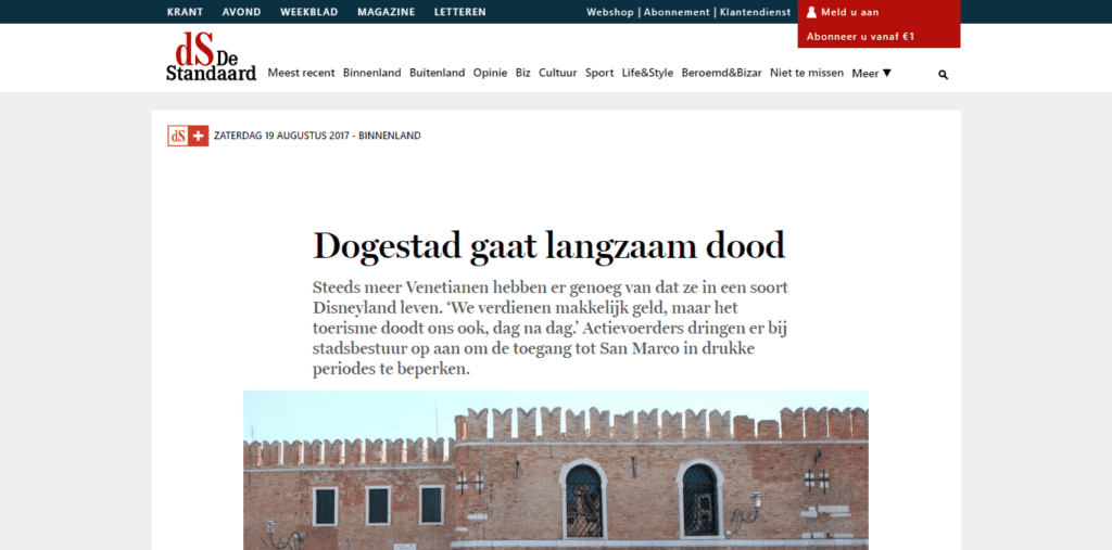 Belgian Flemish newspaper features the work of Venezia Autentica in an article about the Venetian exodus - Venezia Autentica | Discover and Support the Authentic Venice - The Flemish newspaper reviews the reasons behind the recent protests in Venice, and mention Venezia Autentica as a solution to support the local populationIn Au