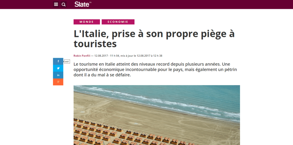 Slate.fr features Venezia Autentica in an article about mass tourism in Italy - Venezia Autentica | Discover and Support the Authentic Venice - Slates.fr speaks about the struggles of Italy with mass tourism and features the work of Venezia Autentica in VeniceIn August 2017, the leading French online