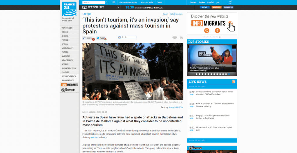 France24 quotes Venezia Autentica in an article about protests made by locals in Europe against mass tourism - Venezia Autentica | Discover and Support the Authentic Venice - The Paris-based news network France24 reports on the widespread protests against mass tourism that are occurring all across Europe, quoting Valeria Duflot