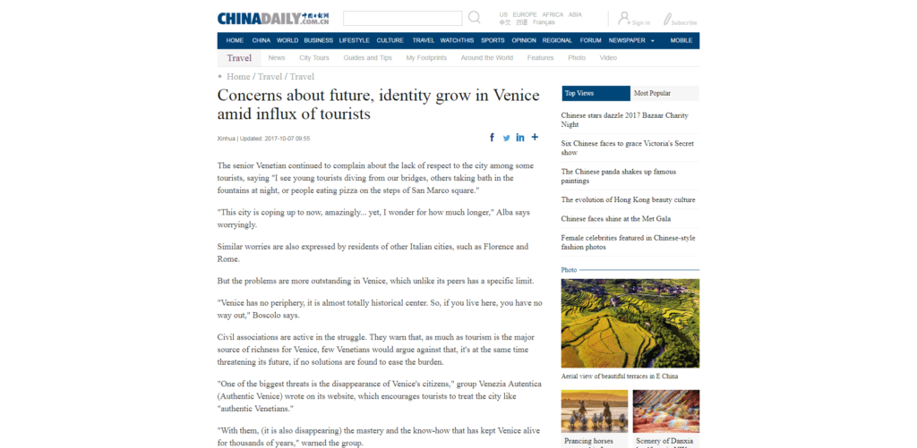 China Daily, the most read english-language newspaper in China, quotes Venezia Autentica regarding the effects of mass tourism in Venice - Venezia Autentica | Discover and Support the Authentic Venice - China Daily highlights the demographic loss in Venice, the role played by mass tourism, the protests of the local population, and quotes Venezia Autentica regar