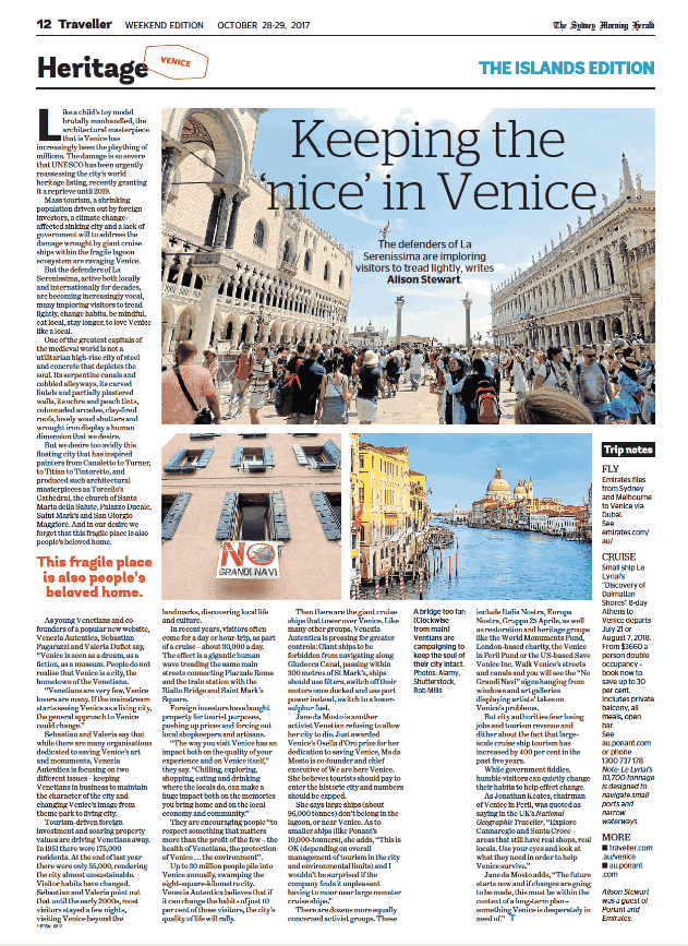 The Sydney Morning Herald dedicates a full feature to Venezia Autentica work and mission in Venice - Venezia Autentica | Discover and Support the Authentic Venice - The Sydney Morning Herald shares the mission, background and objectives of Venezia Autentica with its readersThe major Australian The Sydney Morning Herald