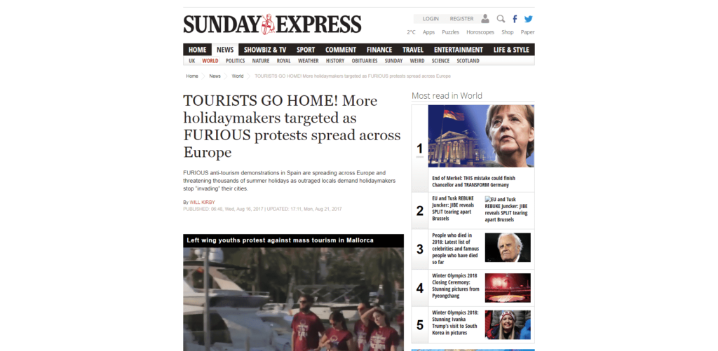 Sunday Express quotes Venezia Autentica in an article regards to the spreading of protests across Europe from local associations against mass tourism - Venezia Autentica | Discover and Support the Authentic Venice - The national newspaper Sunday Express covers the spreading across Europe of protests by locals against mass tourism, as well as highlighting the concerns of