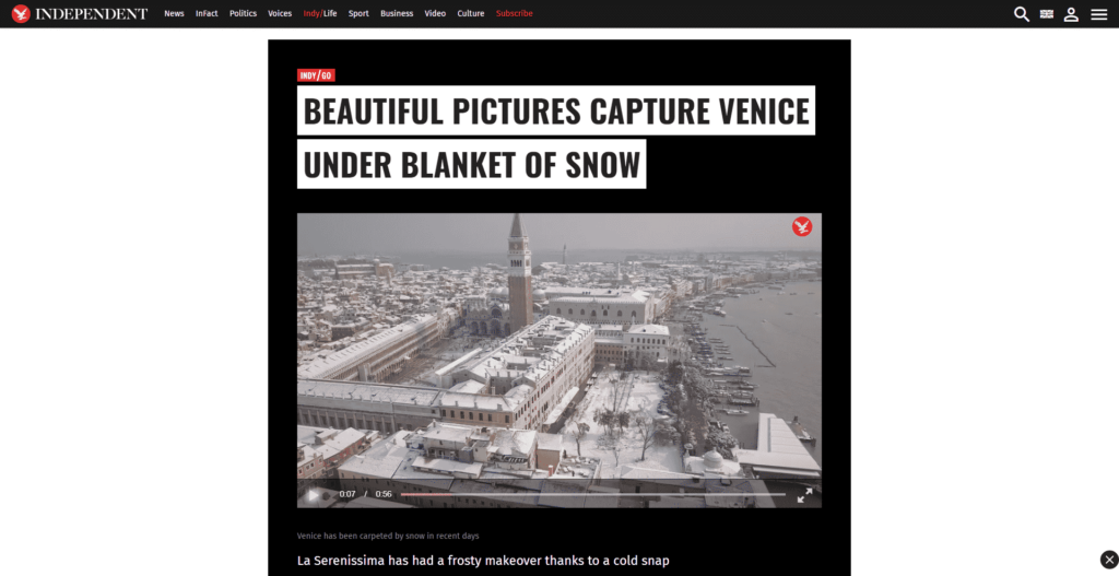 The Independent dedicates a piece to Venezia Autentica's pictures and speaks about its work and mission - Venezia Autentica | Discover and Support the Authentic Venice - The British digital-only newspaper The Independent, shares the pictures of a heavy snowfall in Venice shot by Sebastian Fagarazzi and features the work and