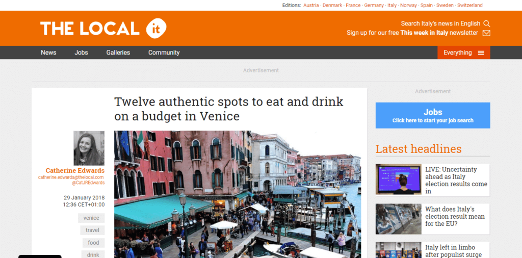 The Local Italy features Venezia Autentica's recommendations in a quick guide about local food as a reaction to recent news - Venezia Autentica | Discover and Support the Authentic Venice - The Local Italy reacts to the recent worldwide coverage of tourists poor experience in Venice by creating this quick guide of places where to eat and drink in